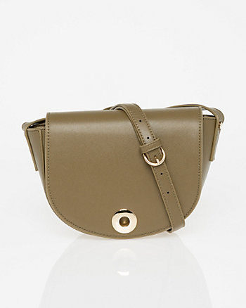Saffiano Leather-Like Saddle Bag