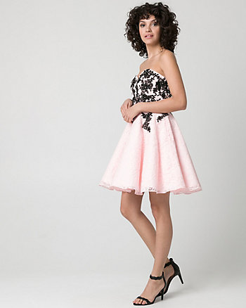 Embellished Lace Strapless Party Dress