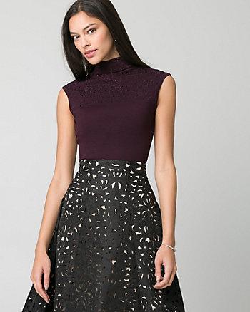 Textured Viscose Blend Mock Neck Sweater