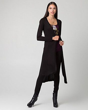 Viscose Open-Front Duster Cardigan