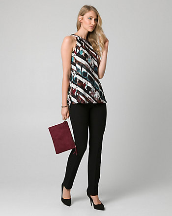 Abstract Print Crêpe Halter Blouse