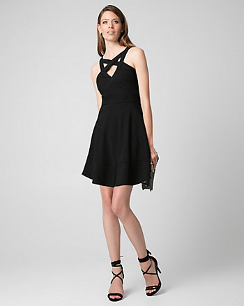 Ottoman Knit Halter Cocktail Dress