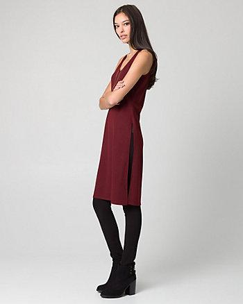 Cut & Sew Knit V-Neck Slit Tunic