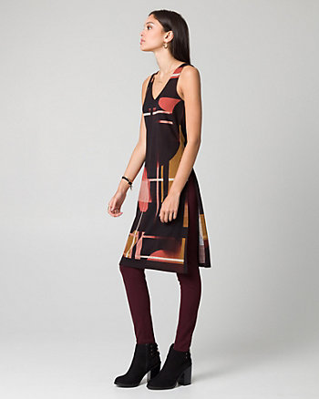 Geo Print Cut & Sew Knit V-Neck Slit Tunic