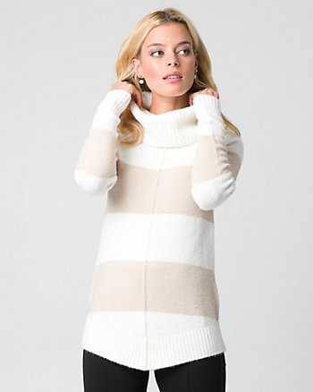 Stripe Bouclé Cowl Neck Sweater