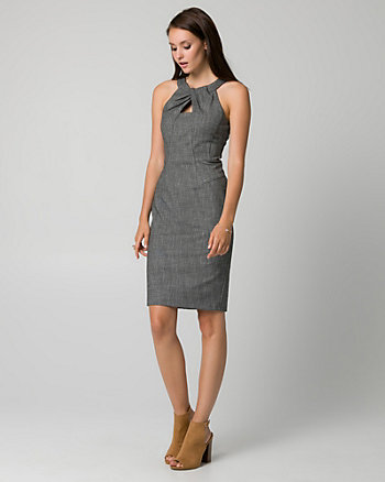 Tweed Pleated Neck Shift Dress
