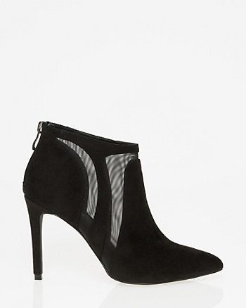 Mesh & Suede-Like Pointy Toe Ankle Boot