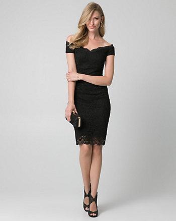 Lace Off-the-Shoulder Shift Dress