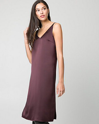 Satin V-Neck Slit Tunic