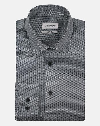 Geo Print Cotton Blend Slim Fit Shirt