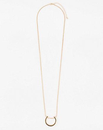 Metal Half Circle Pendant Necklace