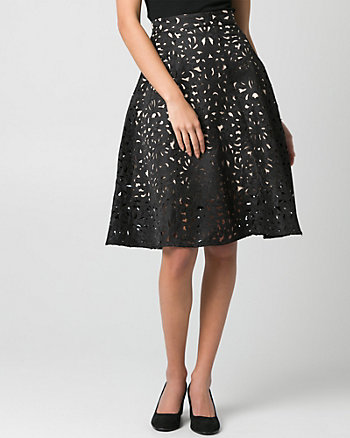 Laser Cut Jacquard Flare Skirt