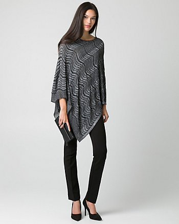 Metallic Knit Asymmetrical Poncho