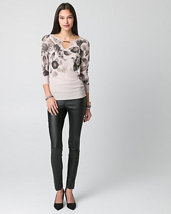 Floral Print Metallic Knit Sweater