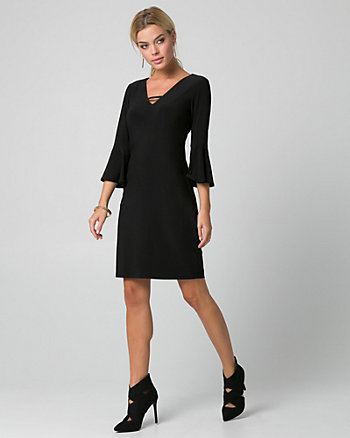 Knit V-Neck Tunic Dress