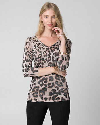 Leopard Print Metallic Knit Sweater