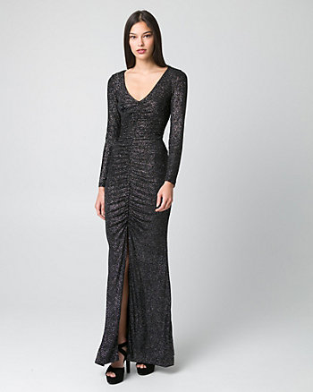 Sparkle Knit V-Neck Ruched Gown