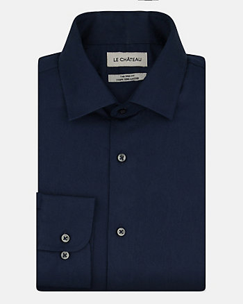 Tonal Cotton Sateen Tailored Fit Shirt