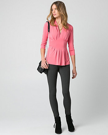 Brushed Jersey V-Neck Pleated Top