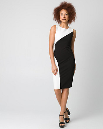 Ponte Colour Block Crew Neck Shift Dress