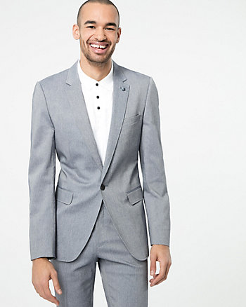 Two-Tone Cotton Blend Slim Fit Blazer