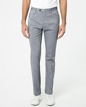 Two-Tone Cotton Blend Slim Leg Pant