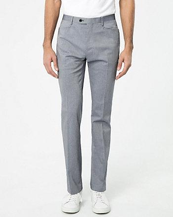 Two-Tone Cotton Blend Slim Leg Pant