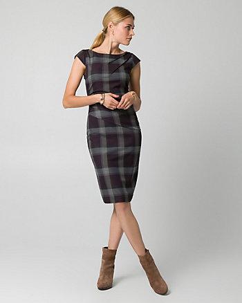 Check Print Viscose Blend Shift Dress