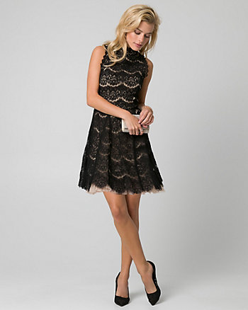 Lace Mock Neck Fit & Flare Dress
