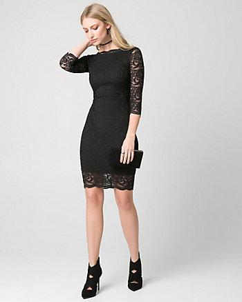 Scalloped Lace V-Back Cocktail Dress