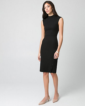 Textured Knit Mock Neck Dress