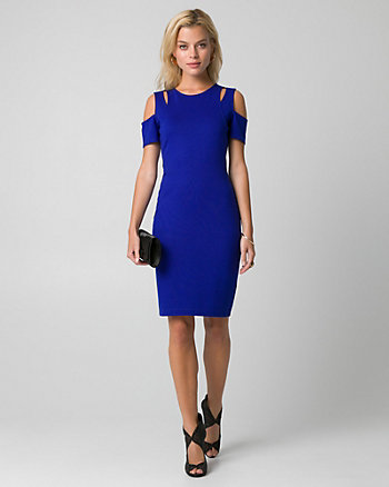 Ponte Cold Shoulder Shift Dress