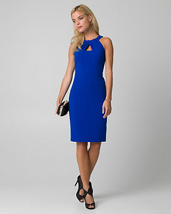 Double Weave Pleated Neck Shift Dress