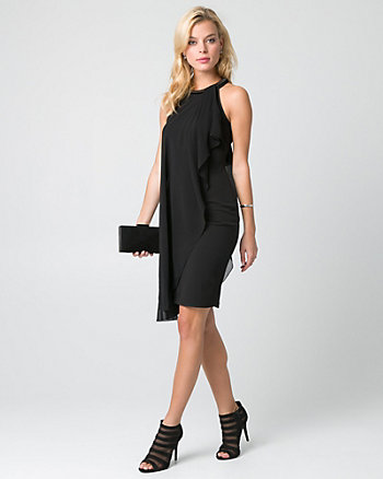 Chiffon & Ponte Halter Cocktail Dress