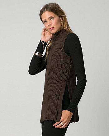 Rib Cotton Blend Slit Sweater Vest