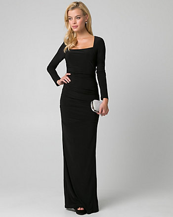 Knit Square Neck Pleated Gown