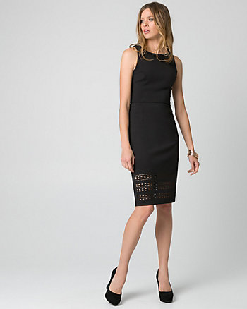 Laser Cut Scuba Knit Shift Dress