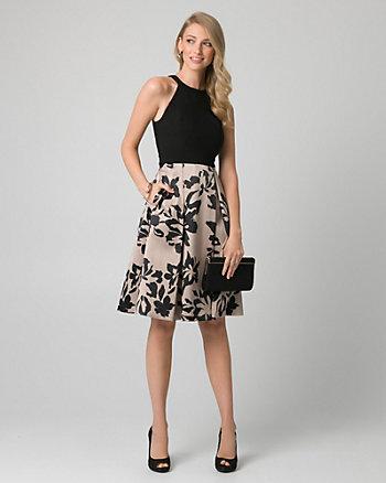 Floral Print Satin Halter Cocktail Dress