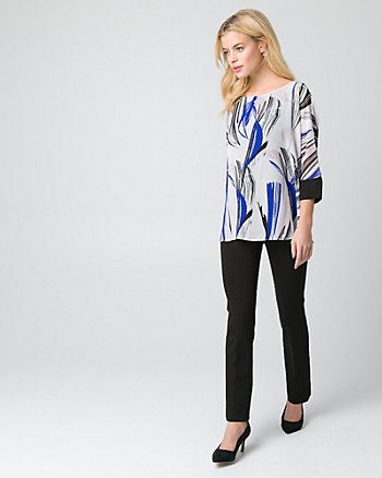 Abstract Print Chiffon Poncho Blouse