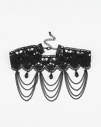 Gem & Lace Choker Necklace