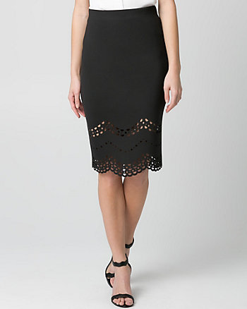 Laser Cut Scuba Knit Pencil Skirt