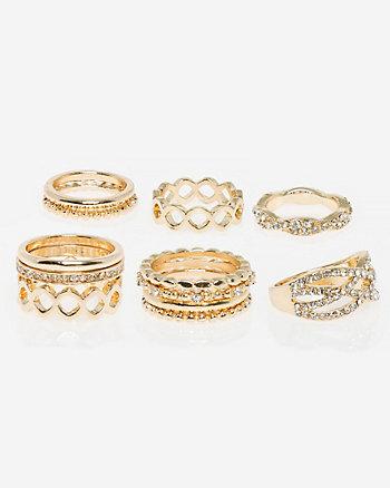 Set of Gem & Metal Knuckle Rings