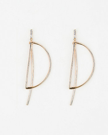 Half Circle & Bar Metal Earrings
