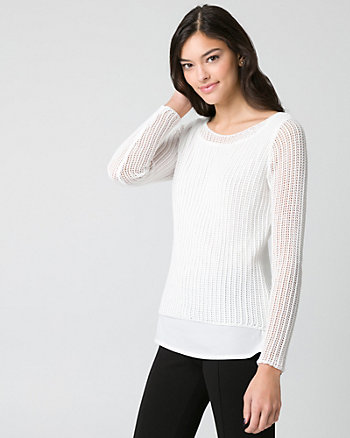 Textured Knit Boat Neck Sweater