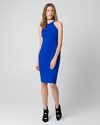 Knit Crêpe Halter Shift Dress