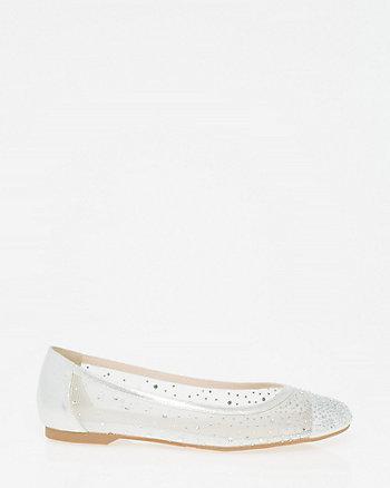 Jewel Embellished Mesh Ballerina Flat