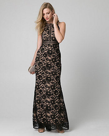 Lace & Mesh Halter Gown