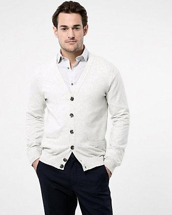 Cotton Blend Button-Front Cardigan