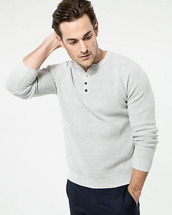 Two-Tone Cotton Henley Sweater
