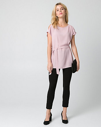 Crêpe de Chine Cold Shoulder Top